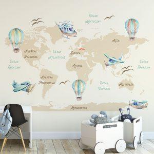 Tapeta z motywem mapy świata i balonów