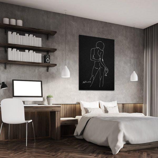 plakat z minimalistycznym szkicem do sypialni