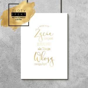 Złoty plakat z napisem o włosach