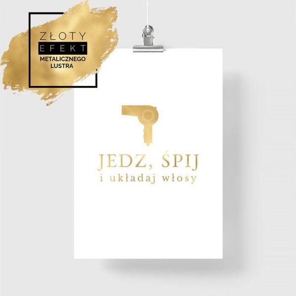 Złoty plakat z motywem suszarki