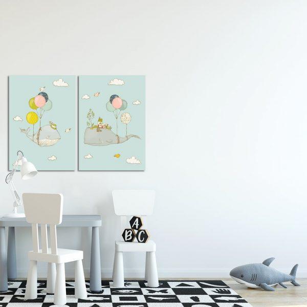Podwójny obraz miętowy do dekoracji pokoju dziecięcego