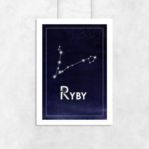 Plakat z gwiazdozbiorem ryb