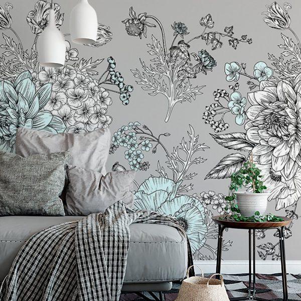 Tapeta na ścianę w miętowe kwiaty