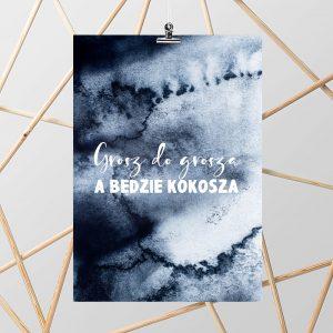 Granatowy plakat z przysłowiem