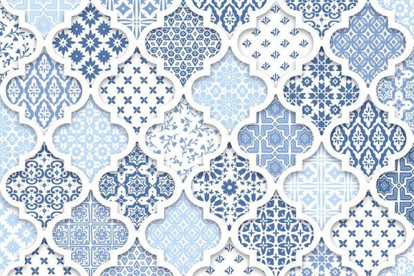 Tapeta w niebieskie wzory orientalne do salonu