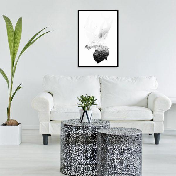 czarno-biuały jeleń
