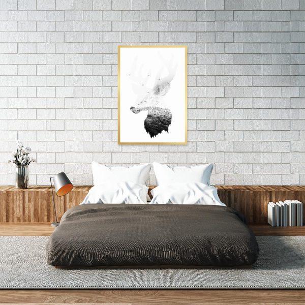 plakat do sypialni z motywem jelenia