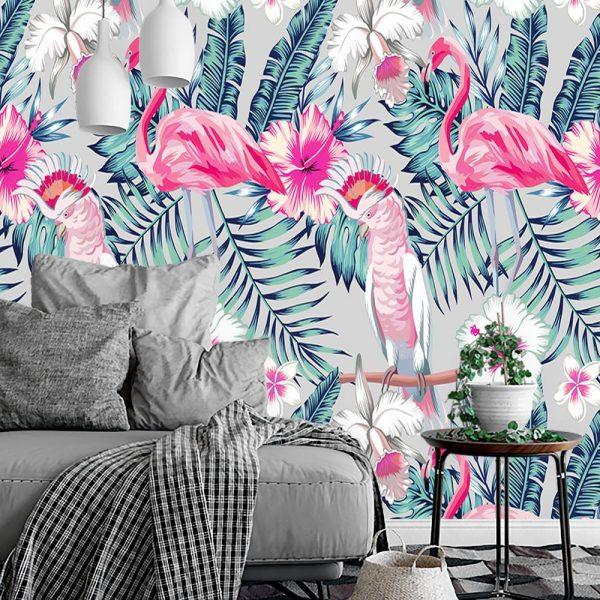flamingi i liście jako motyw