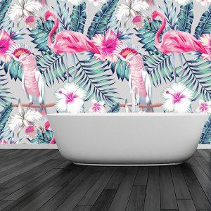 łazienka z motywem tapety