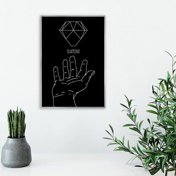 plakat z motywem diamentu