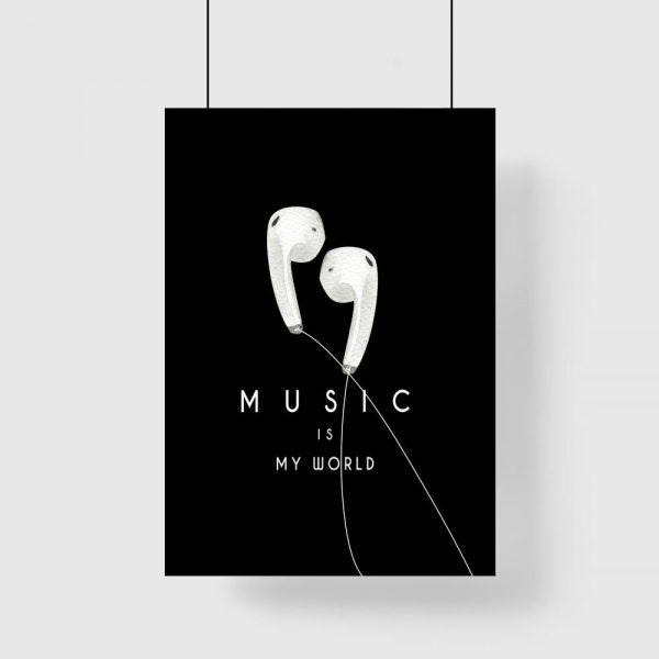 plakat z słuchawkami