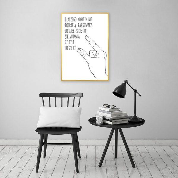 Plakat czarno-biały z rysunkiem