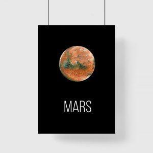 Plakat z napisem i planetą do salonu