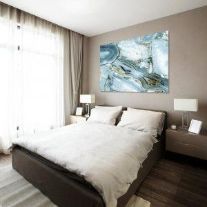 Niebieski obraz z abstrakcją do sypialni