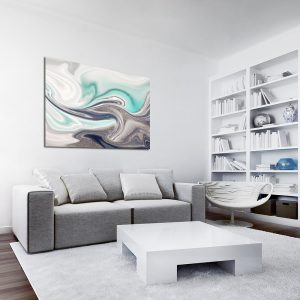 Beżowo-turkusowy obraz do salonu