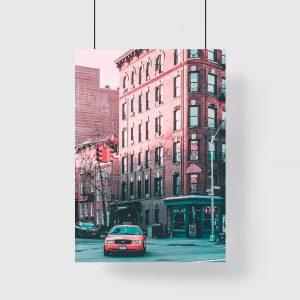 Plakat z nowojorską taksówką
