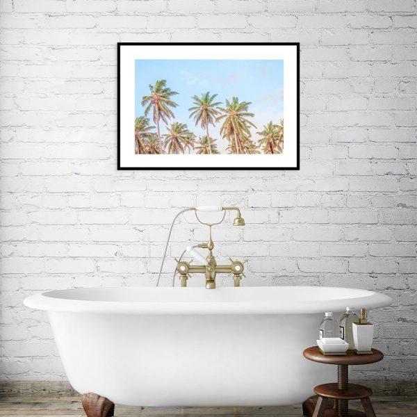 Plakat tropikalny z palmami