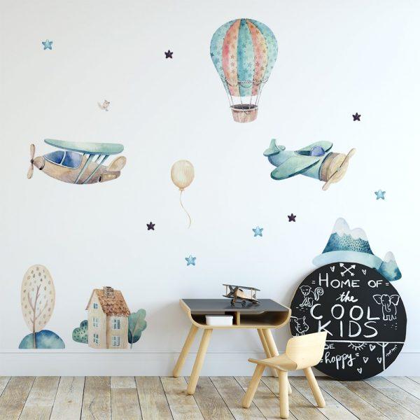 Naklejka na ścianę z motywem gwiazd i samolotów