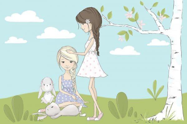 Tapeta z motywem dziewczynek na łące