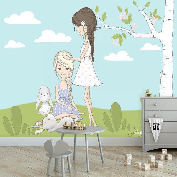 Fototapeta z króliczkami i dziewczynkami na łące
