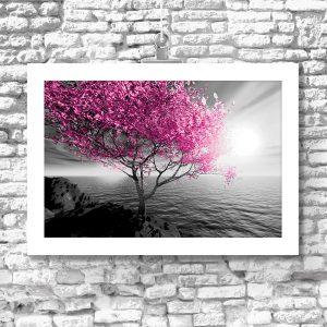 Plakat z różowym drzewem