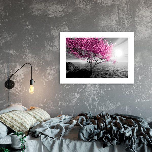 Plakat z motywem różowego drzewa