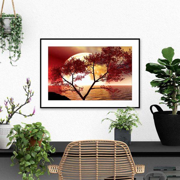 Plakat księżyc i drzewo