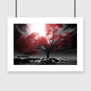 Plakat drzewo i morze