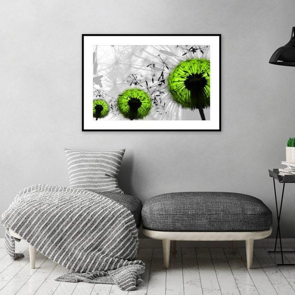 plakat z zielonymi dmuchawcami