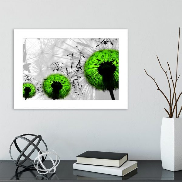Plakat zielone dmuchawce w salonie
