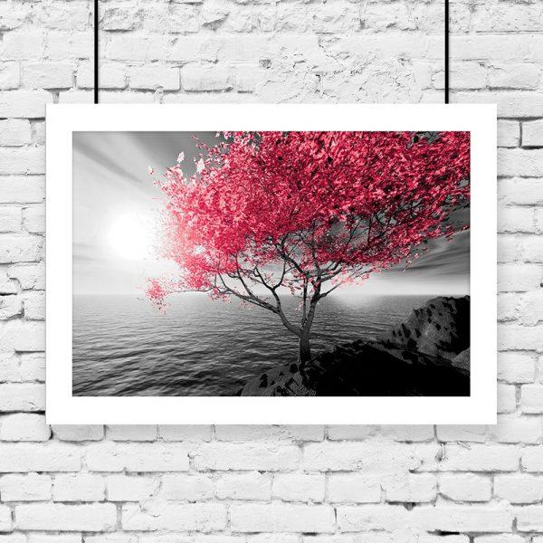 plakat czerwone drzewo i morze na ścianę