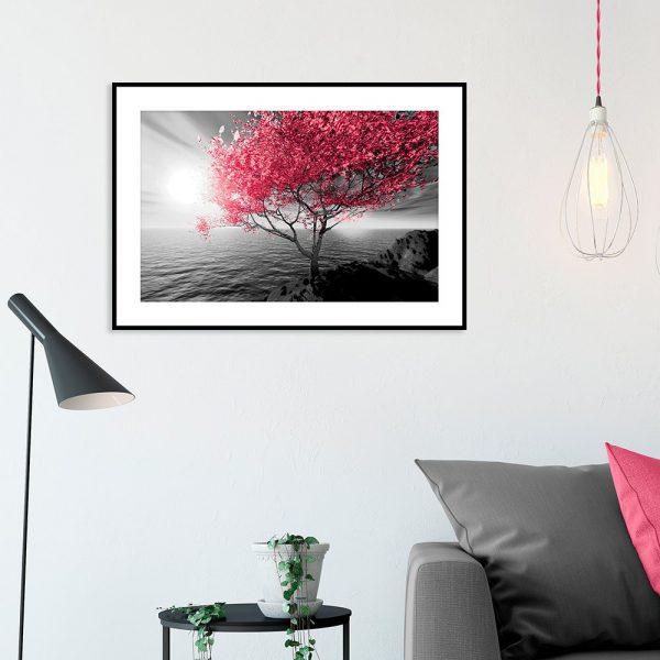 plakat drzewko nad morzem nad kanapę