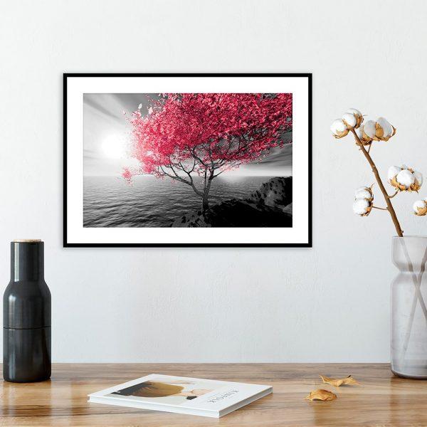 plakat drzewko nad morzem nad stolik