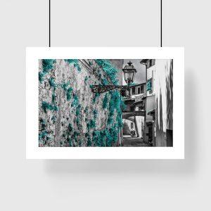plakat z turkusową uliczką na ścianę
