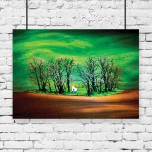 plakat z krajobrazem na ścianie
