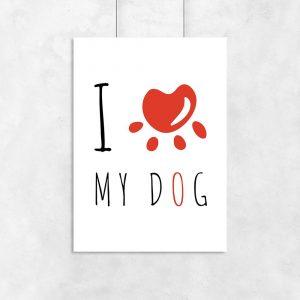 Plakat z napisem o psie