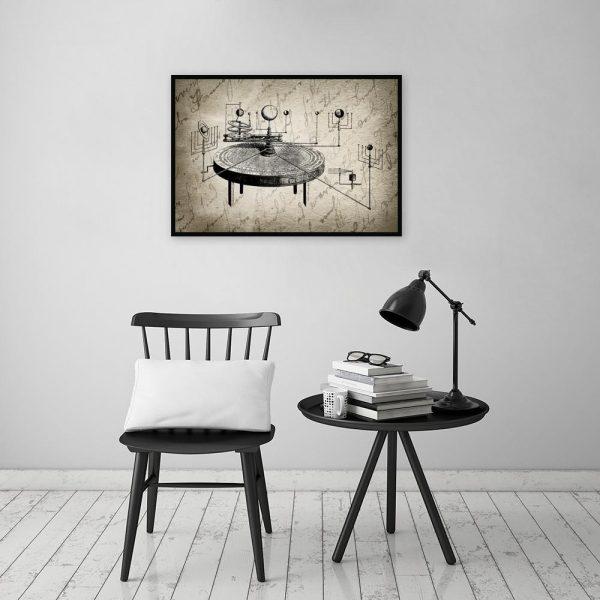 Plakat vintage z układem słonecznym