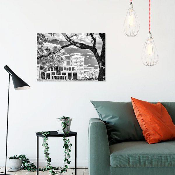 Obraz drzewo i budynki