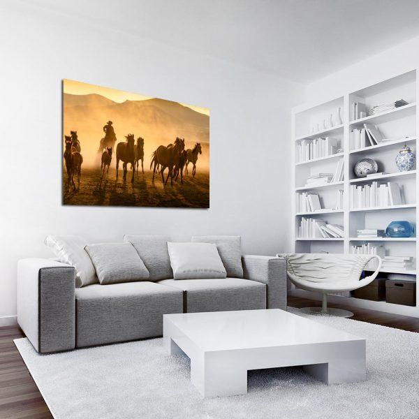 Obraz z motywem koni i kowboja