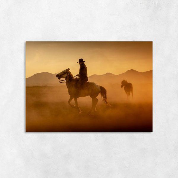 Obraz konie i kowboj