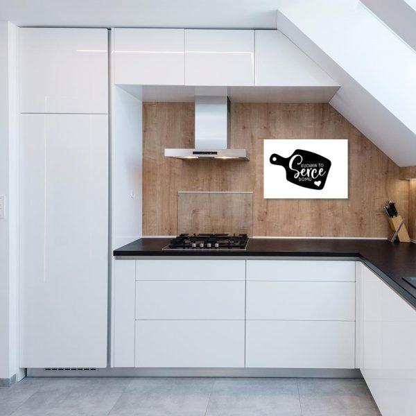 Plakat czarno-biały kuchnia to serce domu