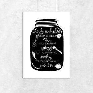 Czarno-biały plakat z napisami do kuchni