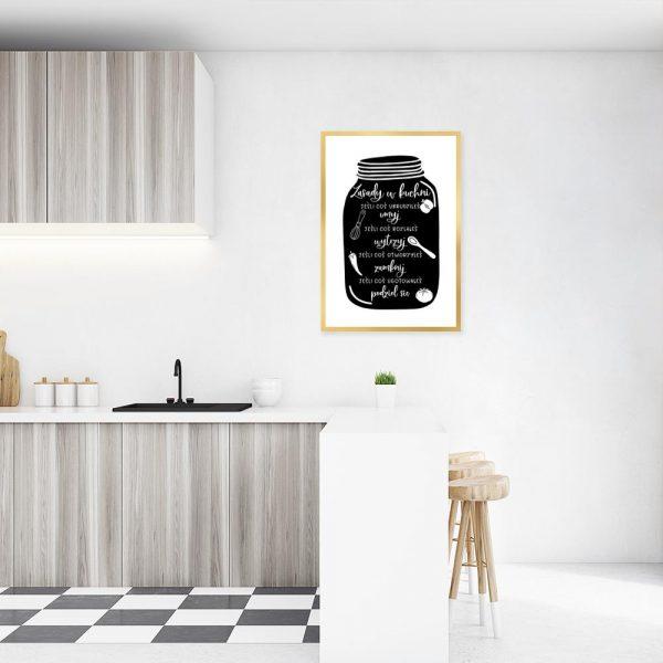 Plakat z motywem słoika i zasad w kuchni