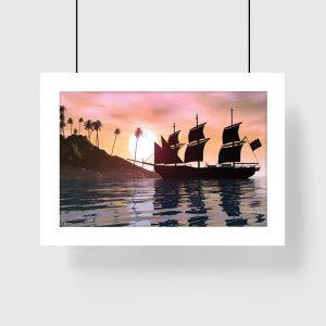plakat z widokiem na morze na ścianę