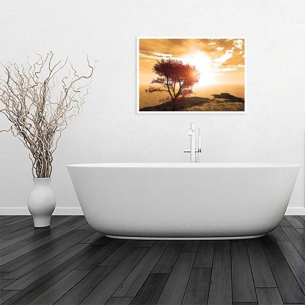 zachód słońca na plakacie w łazience