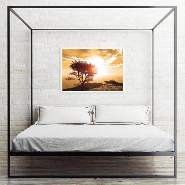 plakat z zachodem słońca nad łóżko