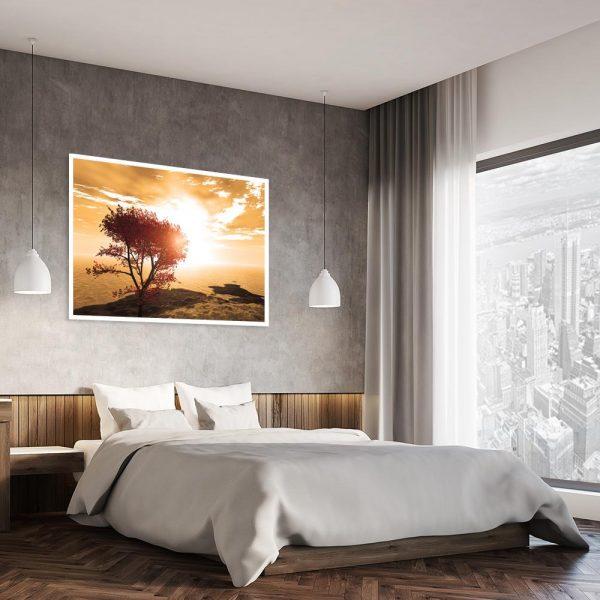 plakat jesienny zachód słońca w sypialni