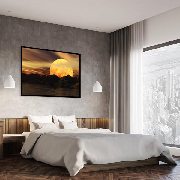 księżyc na plakacie w sypialni