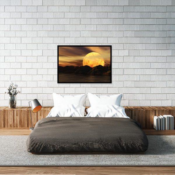 plakat z widokiem na księżyc nad łóżko