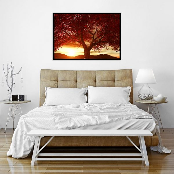 jesienne czerwone drzewo nad łóżko